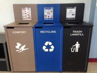 "An image of a ""3-bin system"" compost station at Massasoit's Cafeteria"