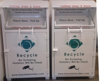 An image of Bay State Textiles' drop-off bins on the Brockton campus